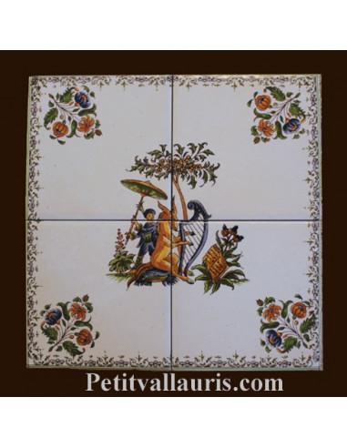 petite fresque murale decorative 20 x 20 cm sur carreau de 10 cm decor tradition polychrome