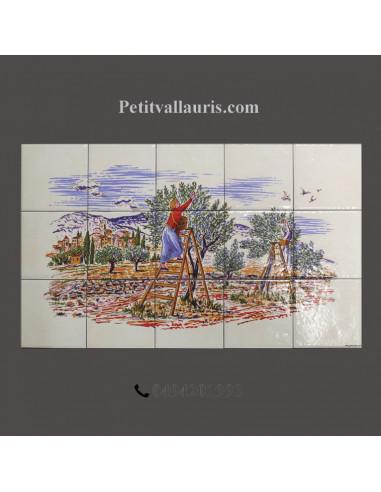 fresque murale sur carreaux ceramique motif recolte des olives taille 50x30 cm