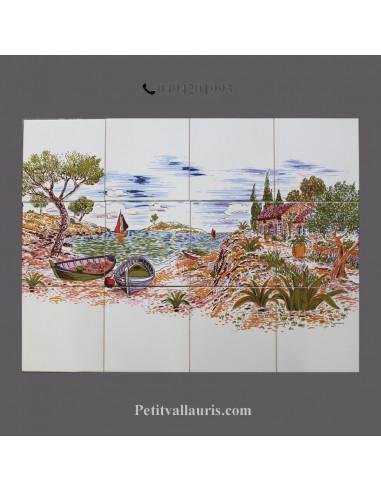 fresque murale sur carraux blancs decor paysage calanques et cabanon 45x60 et 40x80 cm