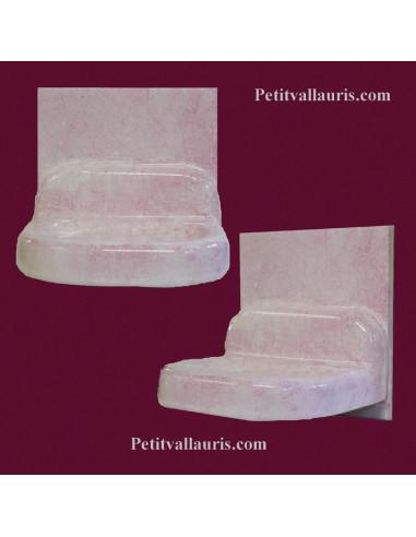 Porte Savon En Faience Modele Mural Sur Carreau 15 X 15 Emaille De Couleur Unie Rose Clair