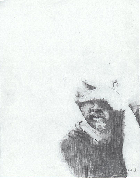 Self Portrait as the Observer, pencil drawing, 14 x 11 inches