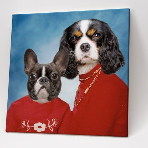 Awkward Pet Photos – 2 Pets Red Sweaters