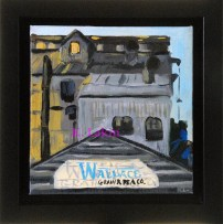 """""""Evening at Palouse Trading"""" 6x6"""", framed."""