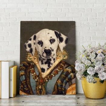 custom female dog renaissance portrait