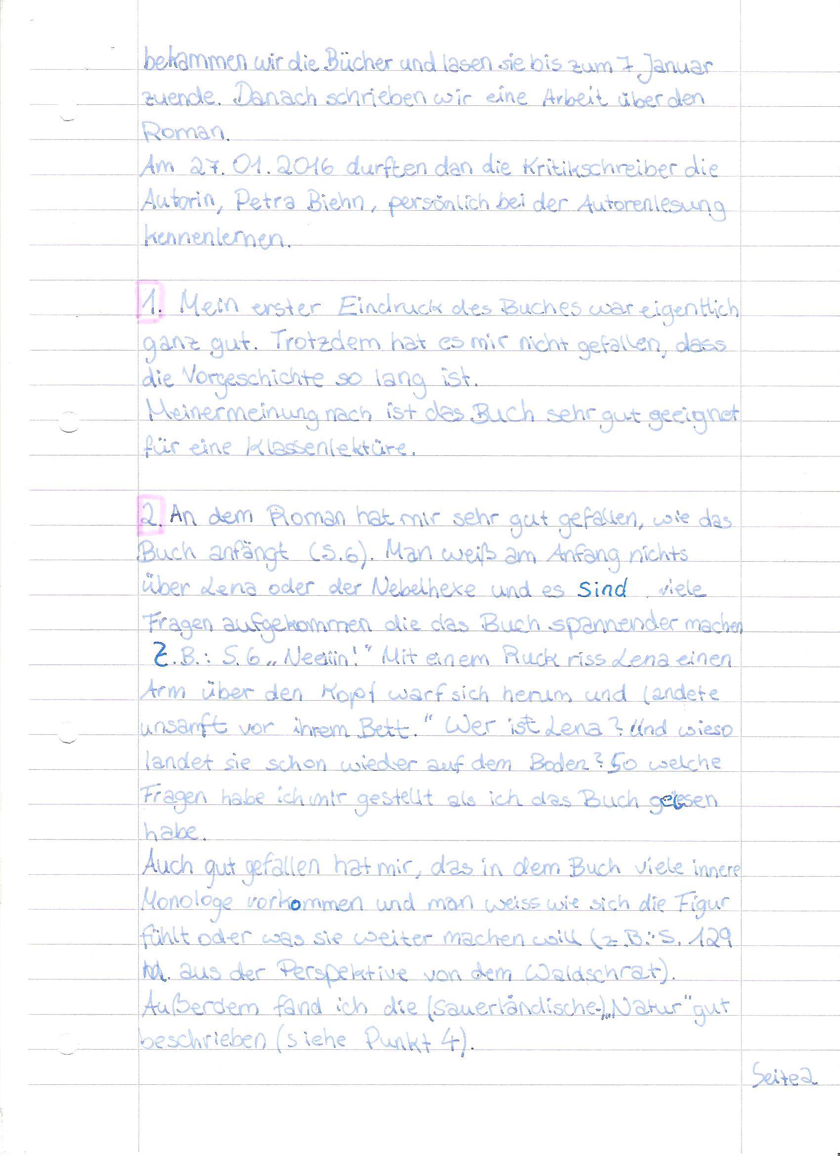 Schülerkritiken nach der Klassenlektüre 'Mirla und der Nebelmantel ...