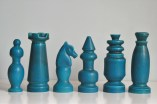Blue pieces from a chess set made by Nico Bongers during an internship at Bay Keramik in the mid 1960s, West Germany