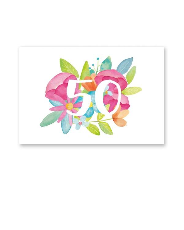 wenskaart 50 waterverf bloemen Dreams Petra van Dreumel