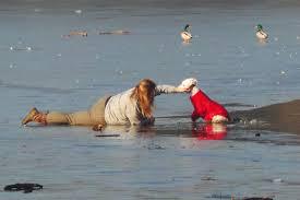 woman crawls on ice 2
