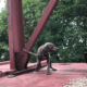 abandoned puppy found chained to railcar