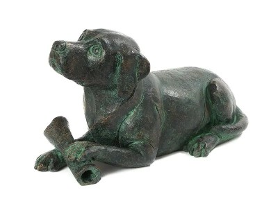 Dog with Bone Urn – Aged Bronze