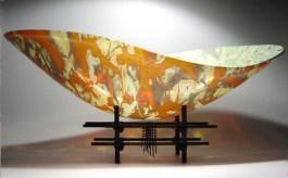 "Amber Bowl, Medium: Glass Size: 24"" x 12"" x 8"" Artist: Scott Amrhein"
