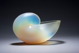 "Nautilus Opalescent White, Medium: Glass Size: 10.5"" x 16"" x 9"" #20488 Artist: George Bucquet"