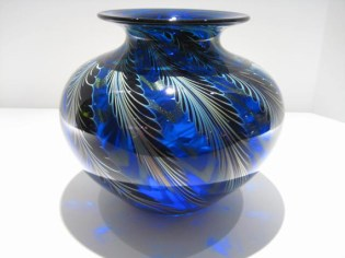 "Blue-Pulled-Feather-Vase,Medium: Glass Size: 8"" x 8"" Artist: Charles Lotton"