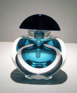 "Aqua-Black-Perfume-Bottle, Medium: Glass Canvas Size: 4"" x 4"" Artist: Correia Glass"