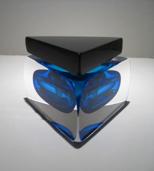 "Triangle-Aqua-Clear-Black-Perfume-Bottle, Medium: Glass Canvas Size: 4"" x 2"" Artist: Correia Glass"
