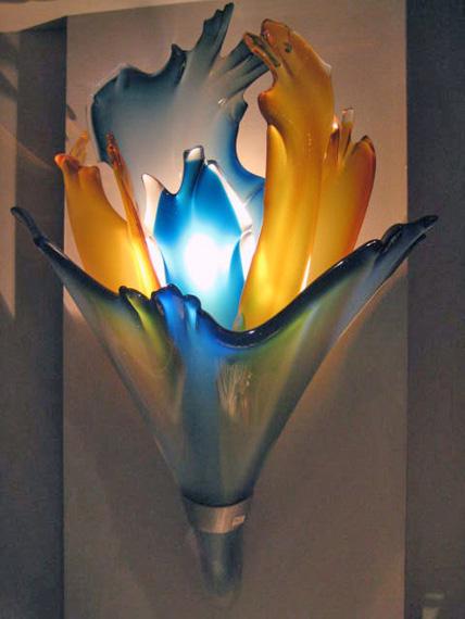 Teal-Blue-and-Amber-Sconce, Medium: Glass Size: Artist: Barry Entner