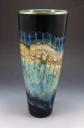 """Black-Opal-with-Turquoise-Cone, Medium: Hand Blown Glass Size: Large 15"""" Small 12"""" Artist: GartnerBlade"""