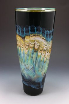 "Black-Opal-with-Turquoise-Cone, Medium: Hand Blown Glass Size: Large 15"" Small 12"" Artist: GartnerBlade"