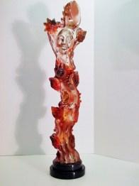 """Red-Dancing-Shaman, Medium: Hand Blown & Cast Glass Size: 31"""" x 8"""" x 6"""" Artist: Susan Gott"""