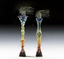 Guardian-Pair, Medium: Blown and Cast Glass Size: Artist: Susan Gott
