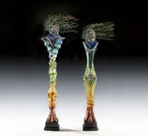 Guardian-Pair, Medium: Blown and Cast Glass Size: Artist: Susan Gott