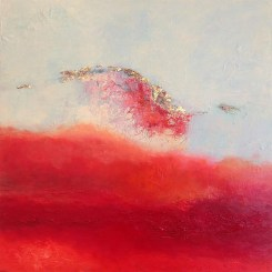 "Inflight, Medium: Original Oil on Rough Linen Size: 30"" x 30"" Artist: Georgeana Ireland"