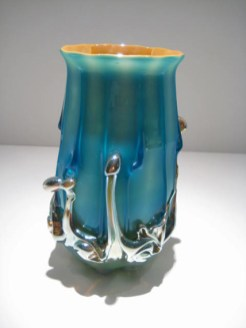 "Large-Turquoise-Lava-Goblet, Medium: Glass Size: 7"" x 4"" Artist: Justin and Steven Lundberg"