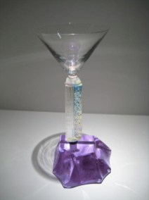 "Dichroic Martini Glass, Medium: Sand Moulded Glass Size: 10.5"" x 4"" Artist: Steven Maslach"