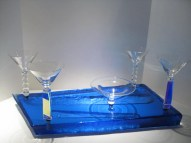 "Martini Set,Medium: Sand Moulded Glass Size: 24"" x 12"" x 11"" Artist: Steven Maslach"