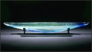 Green Long Boat, Medium: Sand Moulded Glass Size: Artist: Steven Maslach