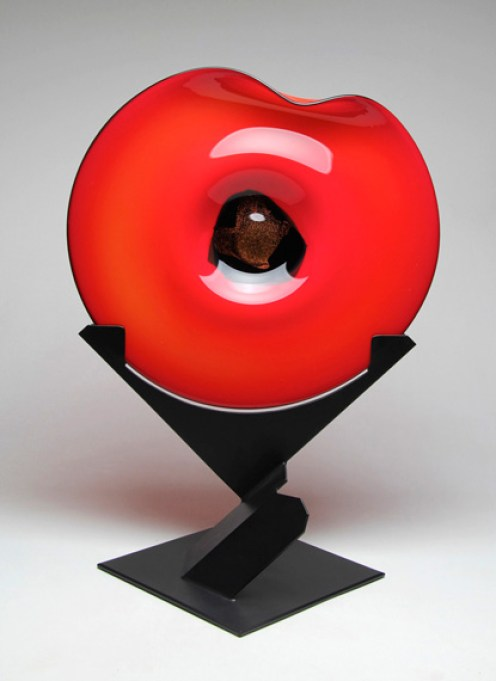 "Uplift-Red-Black-Dichroic, Medium: Hand Blown Glass Size: 29.5"" x 22"" x 16"" Artist: Rick Nicholson"