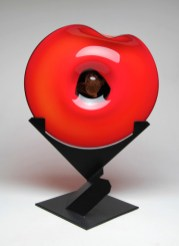 "Uplift-Red-Black-Dichroic, Medium: Hand Blown Glass Size: 29.5"" x 22"" x 16"" Artist: Rick Nicholson"