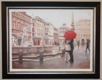 "Piazza-Passion, Medium: Original Oil on Canvas Size: 22"" x 30"" Framed Size: 29.25"" x 37.25"" Artist: Daniel del Orfano"