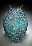 "Grey-Aqua-oligo, Medium: Hand-Blown Glass Size: 23"" x 14"" x 5"" Artist: David Patchen"