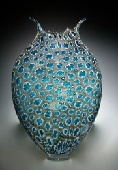 "Grey-Aqua-oligo, Medium: Hand-Blown Glass Size: 23"" x 14"" x 5"" Artist: David Patchen"