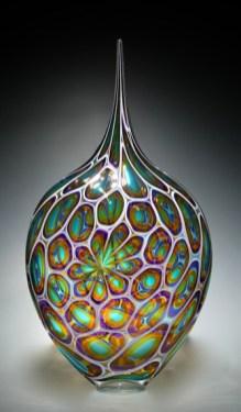 "Purple-Gold-Aqua-Resistenza, Medium: Hand-Blown Glass Size: 4"" x 12"" x 4"" Artist: David Patchen"