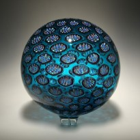 "Sphere-Blue, Medium: Hand-Blown Glass Size: 14"" x 14"" Artist: David Patchen"