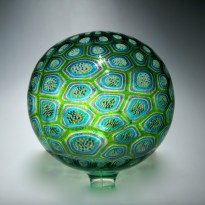 "Sphere-Green, Medium: Hand-Blown Glass Size: 14"" x 14"" Artist: David Patchen"