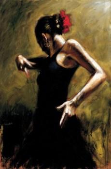 "Dancer-In-Black, Medium: Hand Embellished Giclee Size: 29 x 44"" Artist: Fabian Perez"