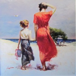 """Afternoon-Stroll, Medium: Hand Embellished Giclee Size: 30"""" x 30"""" Artist: Pino"""