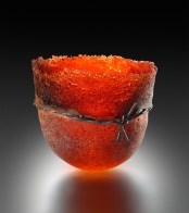 "Braided-Wire-Bowl-Red, Medium: Pate de Verre Glass & Metal Size: 6"" x 6"" x 6"" Artist: Patty Roberts"