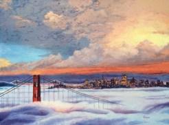 "Purple Fog Original Oil on Canvas 30"" x 40"" Artist: Gina Tecson #19878"