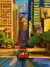 "California-Street-View, Medium: Original Oil on Canvas over Panel Board Size: 40"" x 30"" Artist: Russ Wagner #20170"