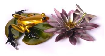 "Water Lotus, Medium: Bronze Release: 2013 Edition: 750 AP/75 Catalog: BF171 Size: 14"" x 8.5"" x 3.5"" Artist: Frogman"