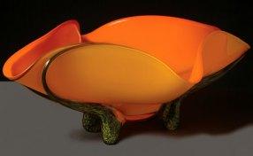 Tropical Apricot Bowl Hand-Blown Glass 9.75 x 27.5 x 17.25