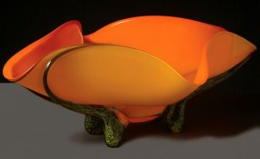 Tropical Apricot Bowl Hand-Blown Glass 9.75 x 27.5 x 17.25