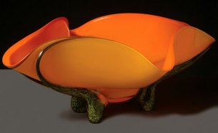 """Tropical Bowl Yellow Ember, Hand Blown Glass Artist: Branson 15"""" x 21.8"""" x 8.5"""" #20470 Price: $2,950.00 REDUCED: $1,950.00"""