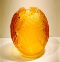 """Amber Dragon Fly Vase 11"""" x 9.5"""""""