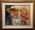 "Lady with Flower Basket Ltd Ed 111 of 125 24"" x 29"" F 35"" x 40.25"""
