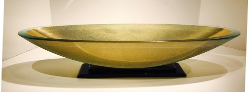 "Long Oval Artifact Bowl with Black Base 5"" x 24.25"" x 7.5''"